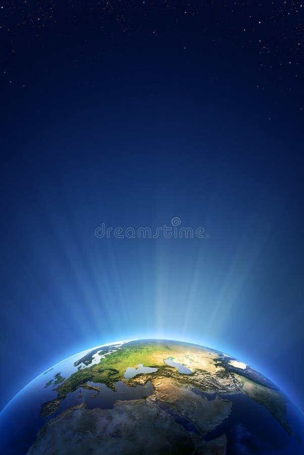Serie ligera radiante de la tierra - Europa stock de ilustración