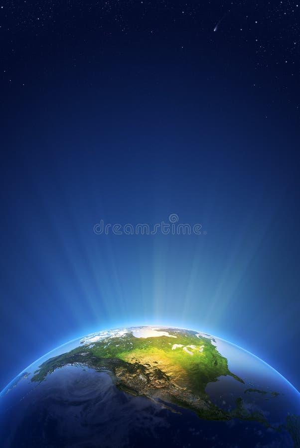 Serie ligera radiante de la tierra - Norteamérica ilustración del vector