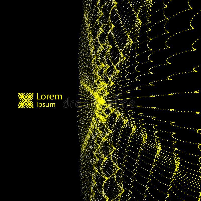 Serie met Dynamische Deeltjes Stromende deeltjesgolven Golvende Netachtergrond abstracte vectorillustratie royalty-vrije illustratie