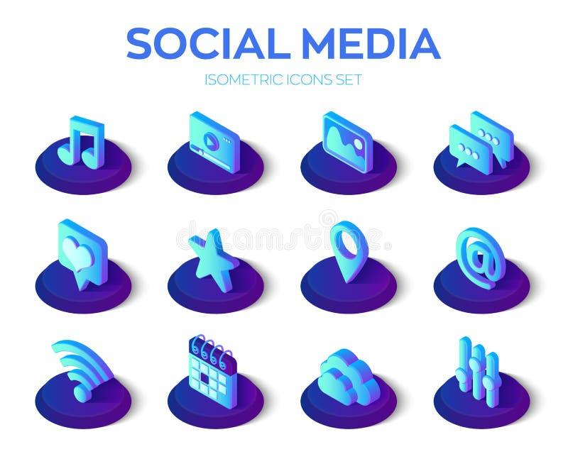 Serie met toepassingen voor sociale media Sociale media 3d isometrische pictogrammen Mobiele toepassingen Gemaakt voor mobiel, we stock illustratie
