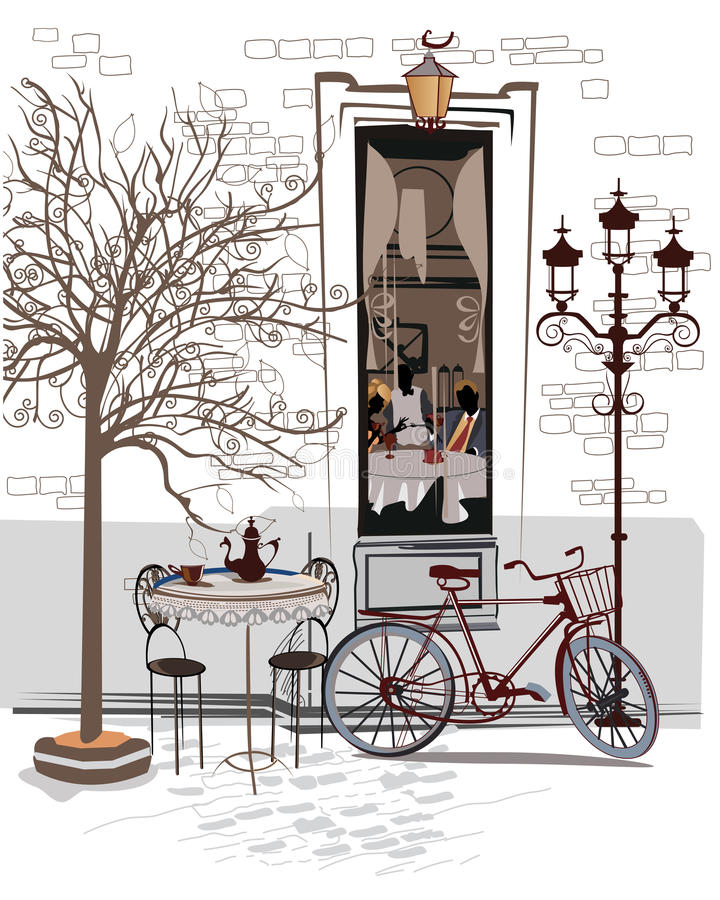 Serie nakreślenia piękni starzy miasto widoki z kawiarniami royalty ilustracja
