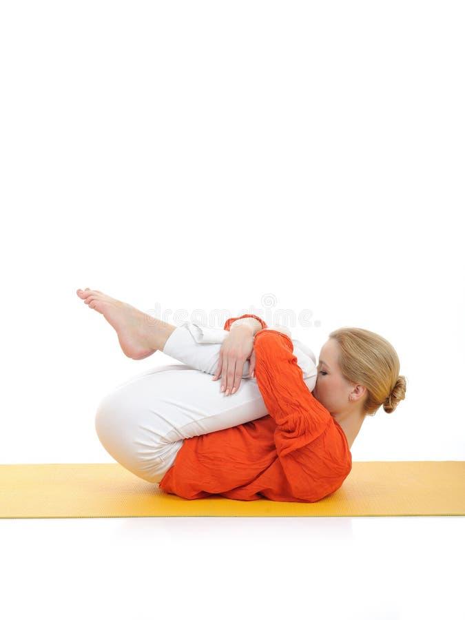 Serie oder Yoga photos.woman, die Yogahaltung tun lizenzfreie stockbilder