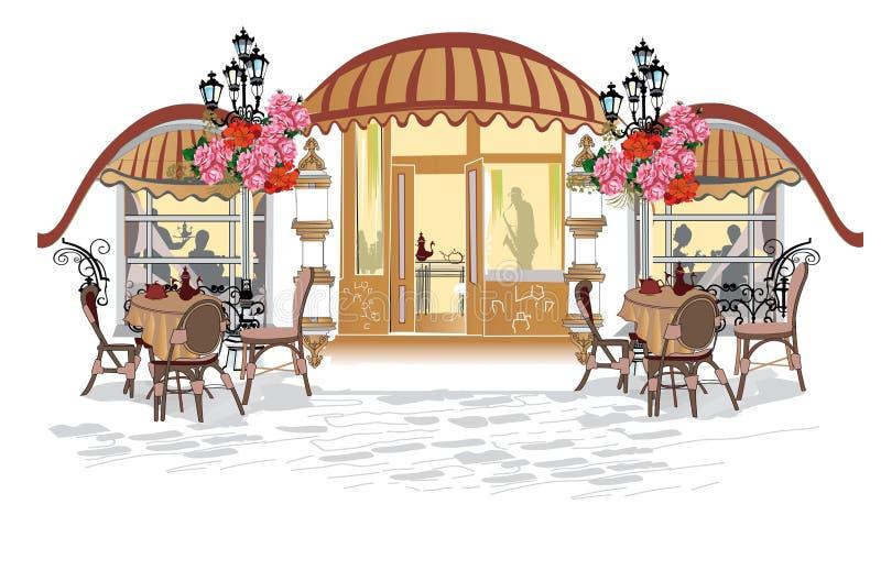 Serie roczników tła dekorowali z kwiatami, retro samochodami i starymi miasto widokami, ilustracji