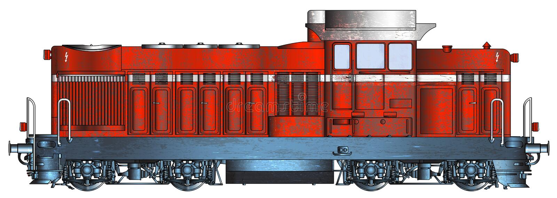 Serie rouillé bulgare 55-00 de locomotive diesel employé par BDZ illustration stock