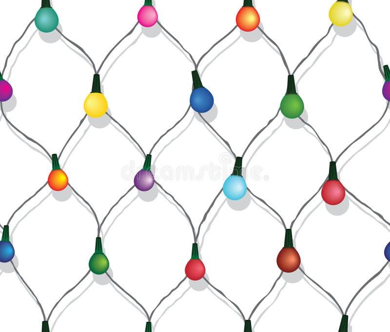 Serie senza cuciture di luci di Natale isolate su bianco illustrazione di stock