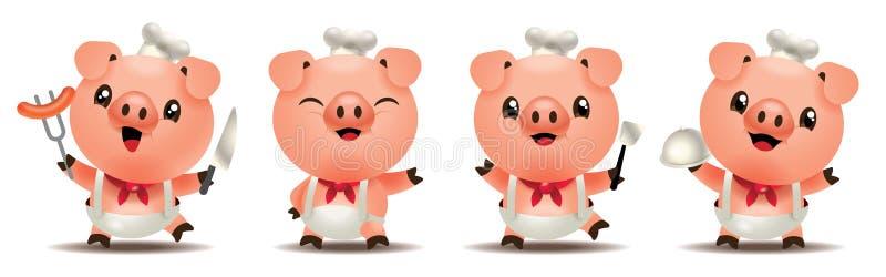 Serie sveglia della mascotte del cuoco unico del maiale del fumetto Strumenti svegli della cucina della tenuta del maiale del fum royalty illustrazione gratis