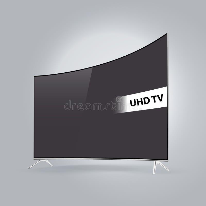 Serie televisiva elegante curvada del LED aislada en fondo gris stock de ilustración