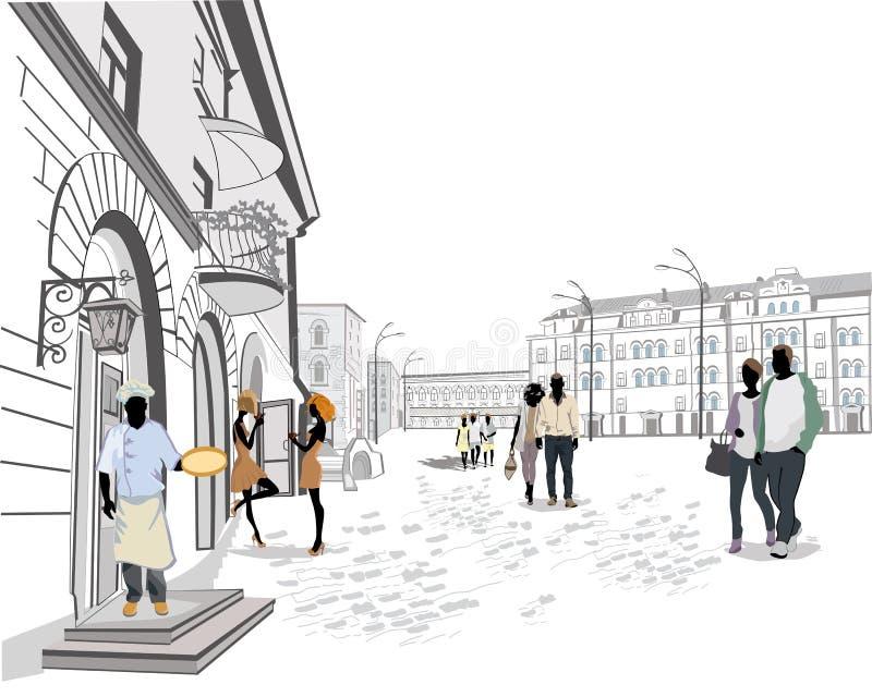 Serie uliczni widoki w starym mieście ilustracja wektor