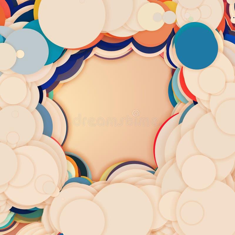 Serie van kleurrijke cirkels met schaduwen abstracte achtergrond Het document sneed stukken vector illustratie