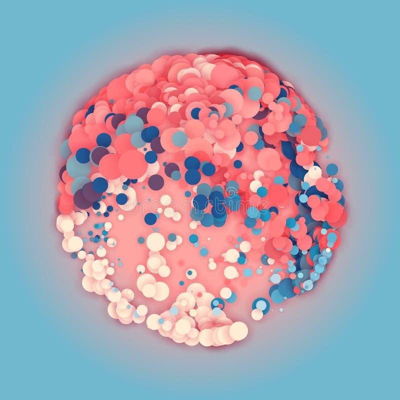 Serie van kleurrijke cirkels met schaduwen in vorm van gebied abstracte achtergrond Het document sneed stukken royalty-vrije illustratie