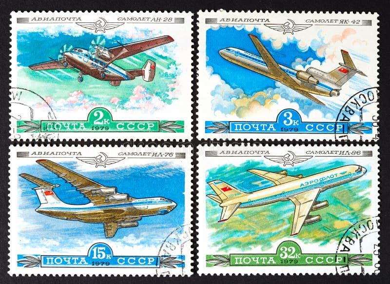 Serie znaczki drukujący w USSR, przedstawienie samoloty OKOŁO 1979, zdjęcie royalty free