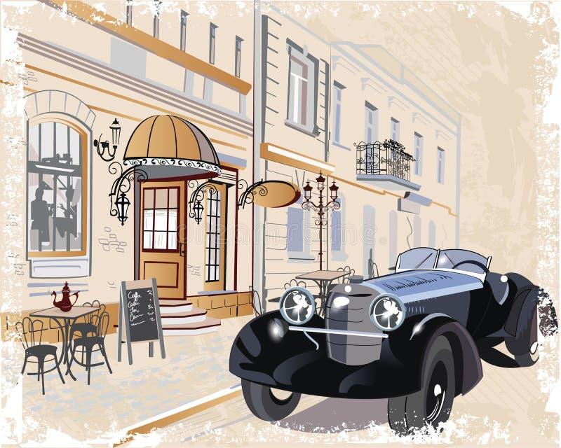 Serien av tappningbakgrunder dekorerade med retro bilar och gamla stadsgatasikter royaltyfri illustrationer