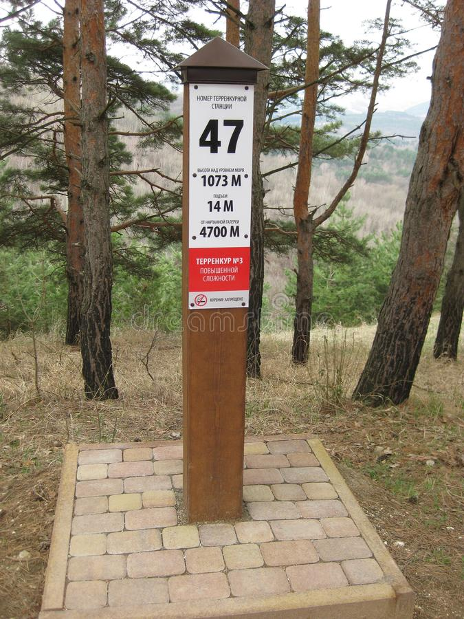 Serienummer terrenkury post in het Kuuroordpark van Kislovodsk stock afbeelding