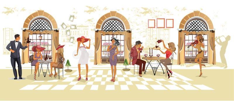 Serier av folk som dricker kaffe inom romantisk café, jazzmusiker, uppassare tjänar som tabellerna stock illustrationer