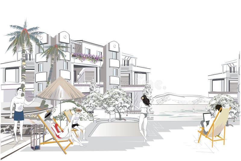 Serier av kopplar av sommarbakgrunder med semesterortbyggnadssikter och folk vektor illustrationer