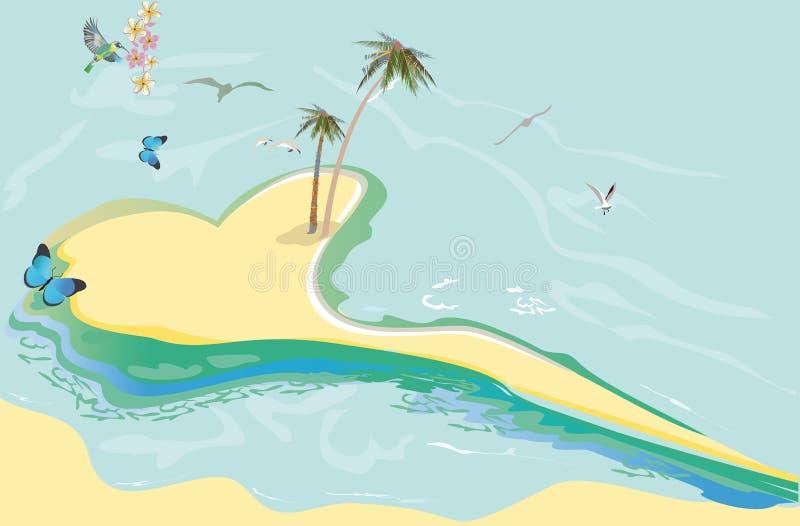Serier av kopplar av sommarbakgrunder med solljus och havsstranden royaltyfri illustrationer