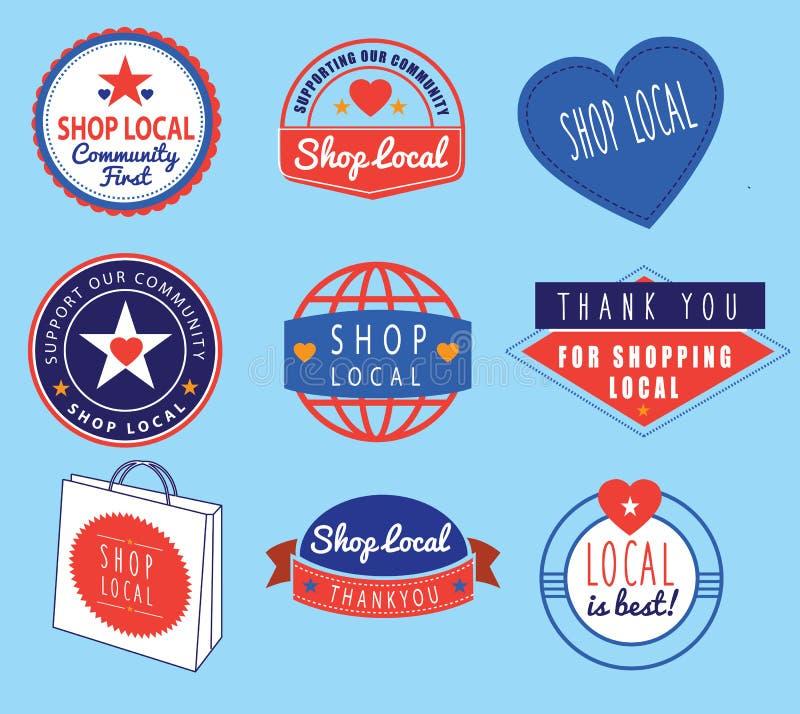 Serier av retro logoer för tappning som baseras på, shoppar lokalt tema stock illustrationer