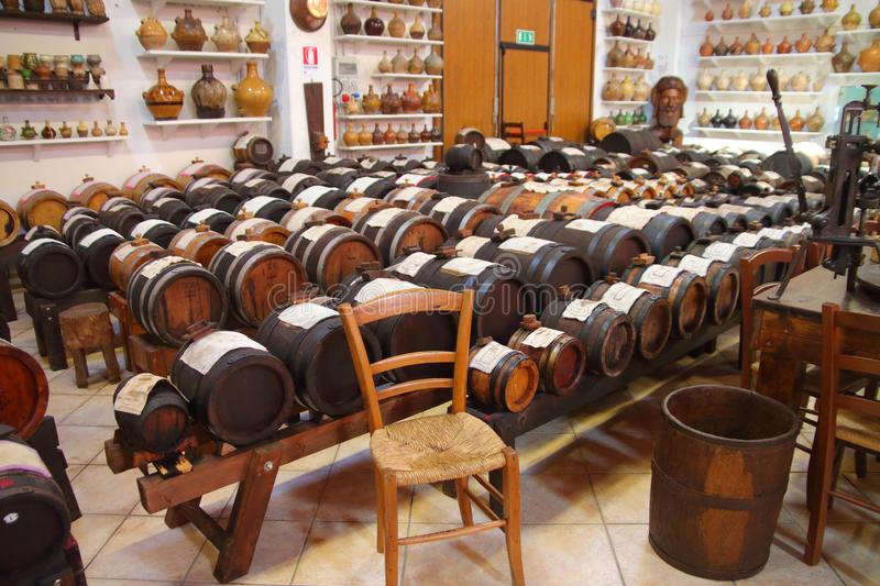 Balsamic vinegar drums in Modena. Series of barrels of different kind of woods for the production of the real Balsamic Vinegar of Modena, following ancient stock photo