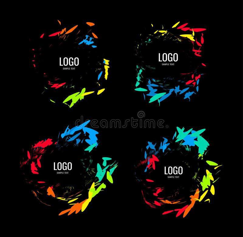 A series of circular logos in a natural style on a black background stock illustration