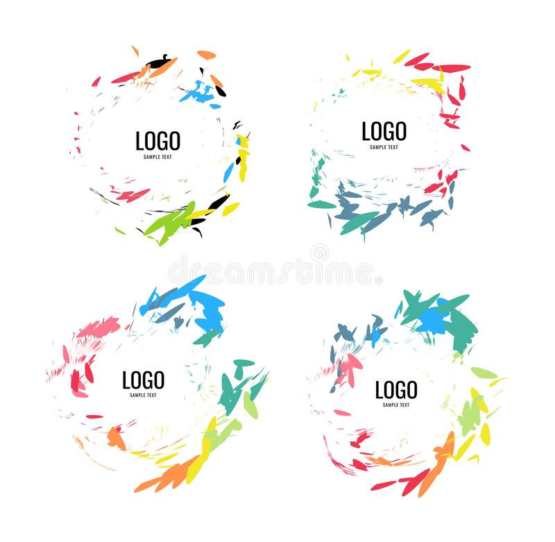 A series of circular logos in a natural style on a white background stock illustration