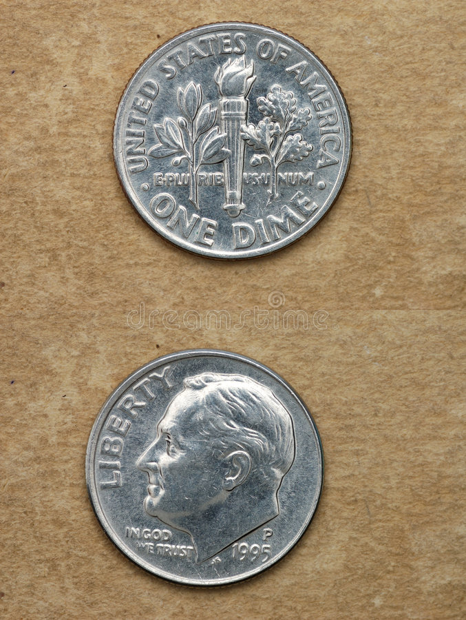 From series: coins of world. America. ONE DIME. stock photos