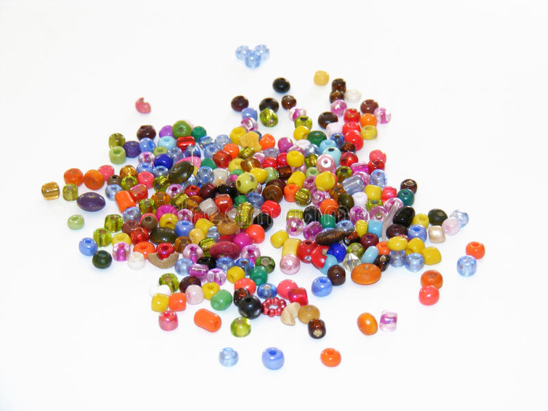 Series of colorful bead pictures used to make bracelets and home-made bracelets stock photography