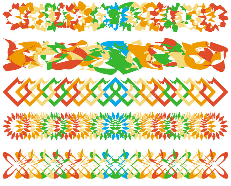 Series of colorful borders stock illustration