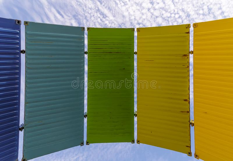 A series of colorful panels against the blue sky with white clouds, Fremantle, Western Australia royalty free stock images