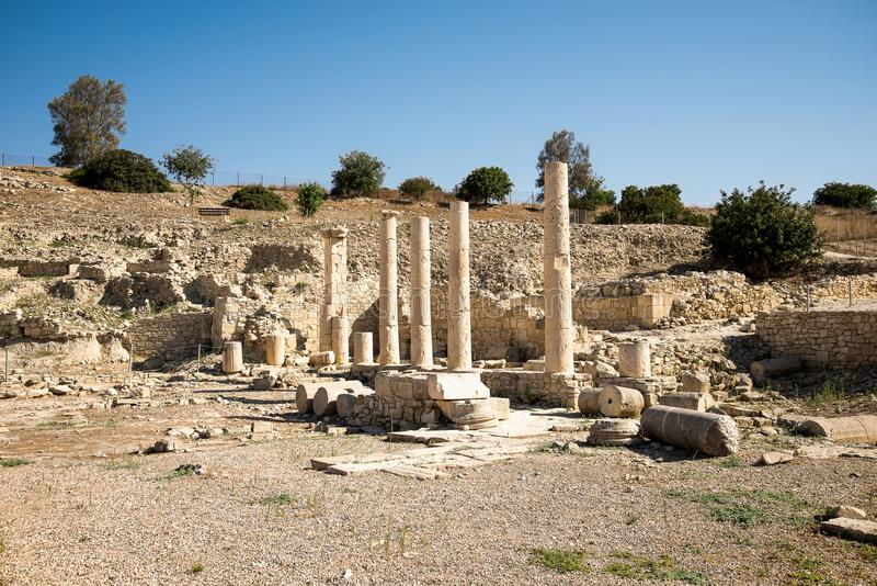 A series of columns in Amathus ancient city archaeological site in Limassol stock image