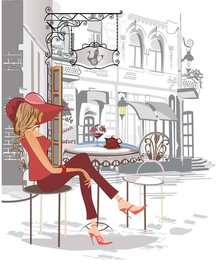 Series de los cafés de la calle con una muchacha hermosa en rojo en la ciudad vieja, stock de ilustración