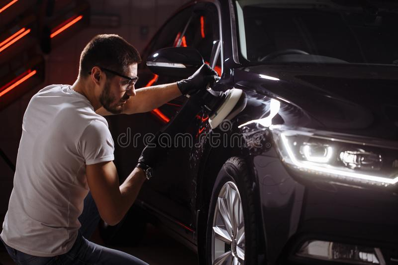 Series of detailed cars: Polishing a car stock images