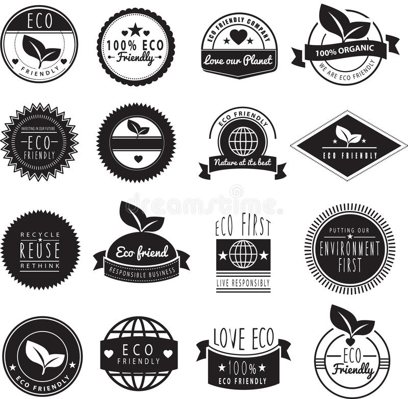 Series of eco friendly love our earth logos vector illustration