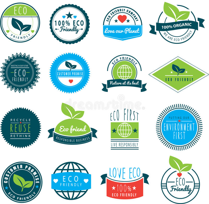 Series of eco friendly love our earth logos royalty free illustration