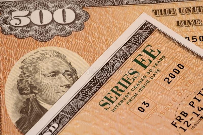 Series EE Saving Bonds royalty free stock photos