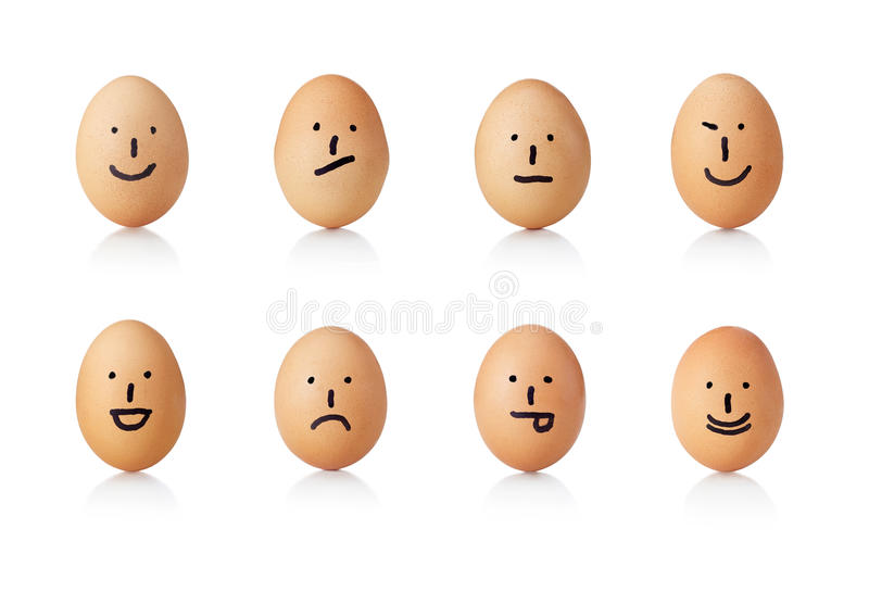 Series of emoticons, painted on eggs. Series of different emoticons, painted on eggs stock photo