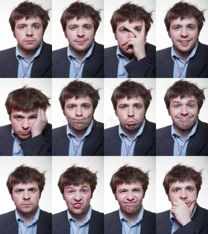 A series of emotional portraits of shaggy young men royalty free stock photos