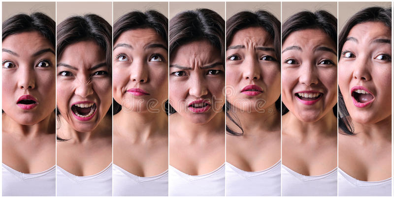 Series of facial expressions royalty free stock image