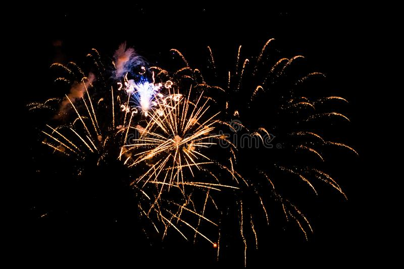 A series of fireworks exploding in the sky royalty free stock photo