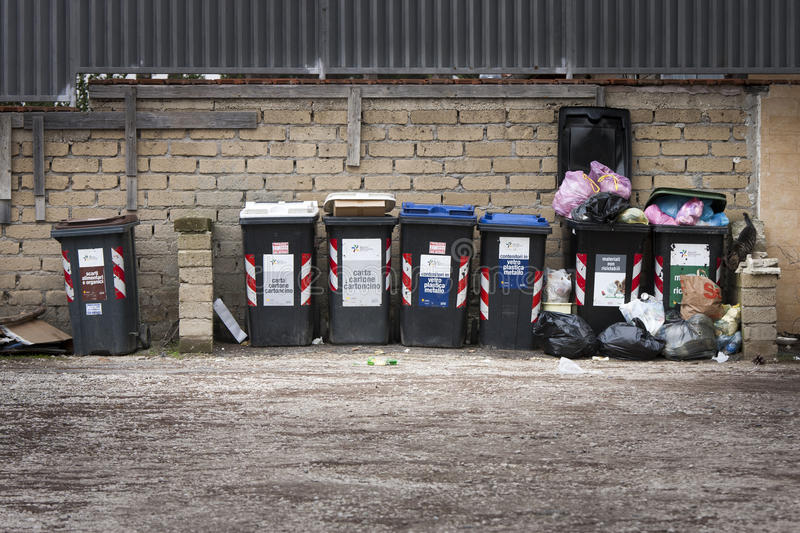 Series of garbage bins. Separate collection. stock images