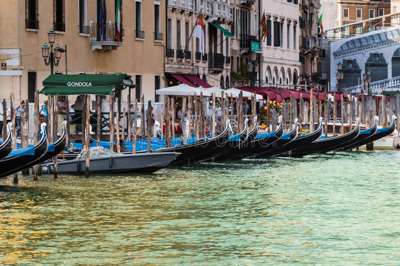 Series of Gondola in Grand Canal in Venice stock images