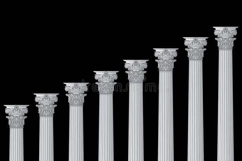 A series of Greek, antique, historic colonnades with Corinthian capitals and space for text on a black background vector illustration