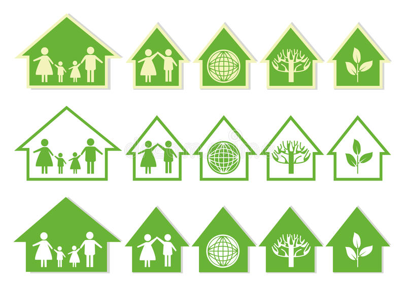 Series Green House Icons stock illustration