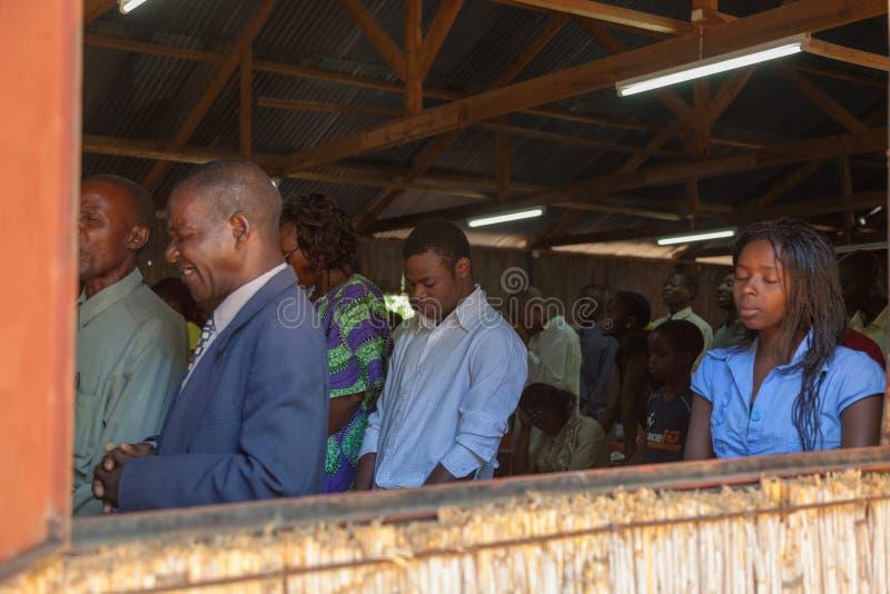 Mozambique Pentacostal Church gathering scenes in Xai Xai royalty free stock image