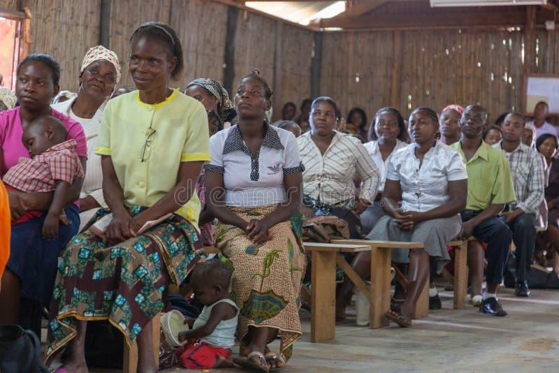 Mozambique Pentacostal Church gathering scenes in Xai Xai stock photography