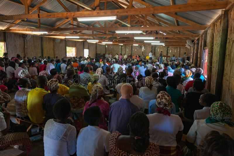 Mozambique Pentacostal Church gathering scenes in Xai Xai stock image