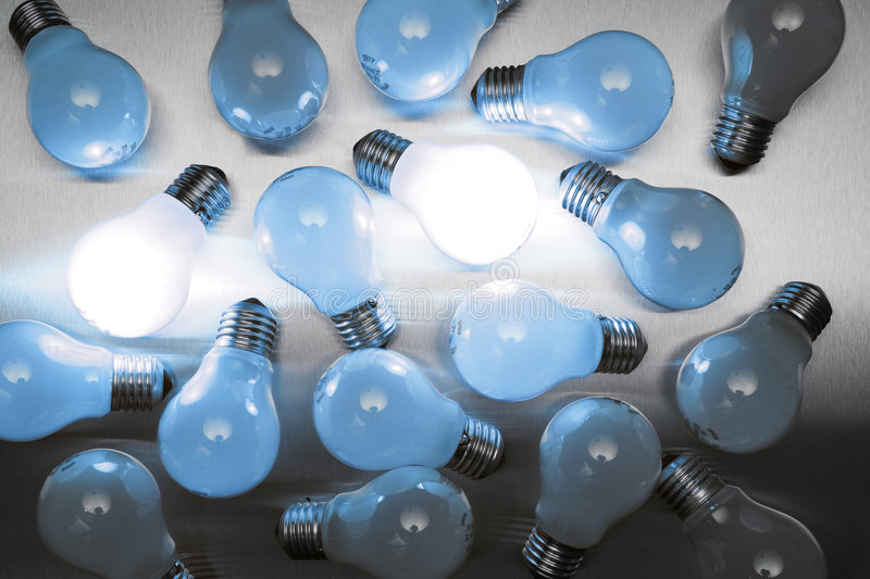 Download Series Of Lightbulbs In Blue Stock Photo - Image of imagination, metal: 5401298