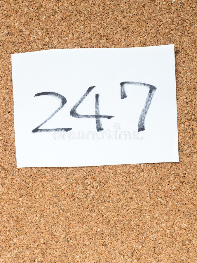 The series of a message on the cork board, 247. The series of a message on a piece of paper on the cork board, 247 stock photo