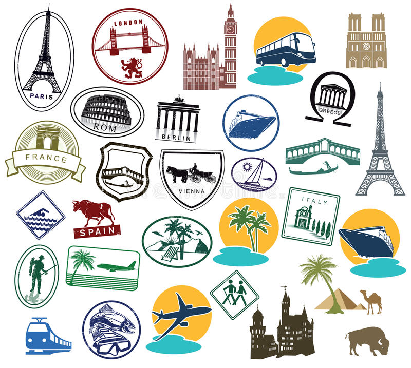 Free Series Of European Stamps Or Stickers Stock Image - 51279961