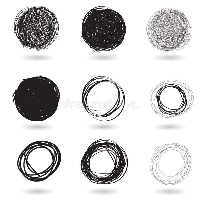 Series of pencil drawn circles vector illustration