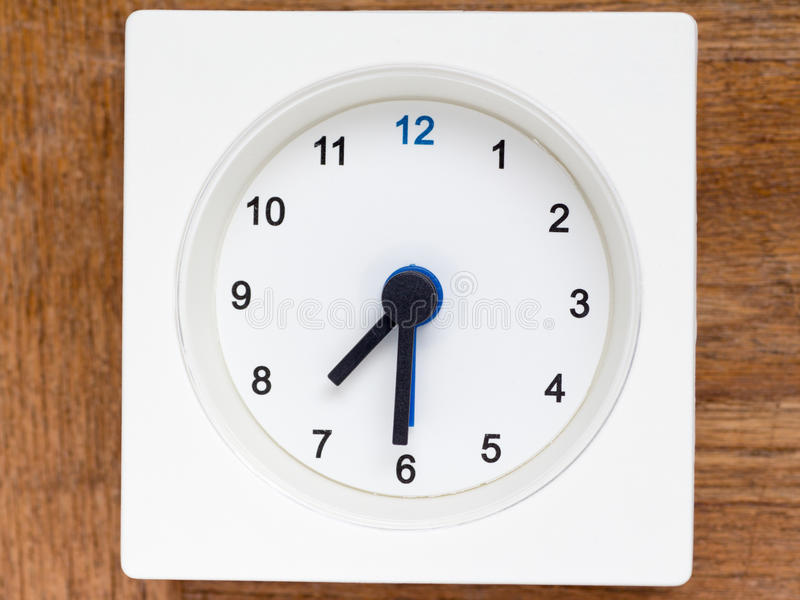 Series of the sequence of time on the simple white analog clock. The series of the sequence of time on the simple white analog clock , 31/48 stock images
